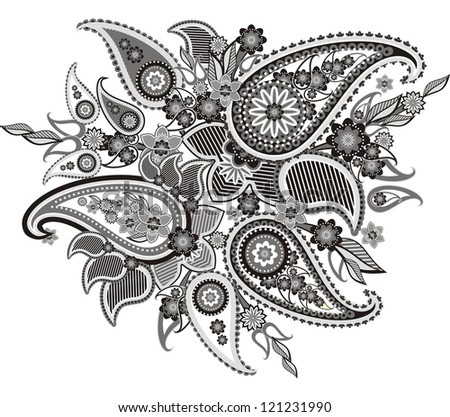 pattern based on traditional Asian elements Paisley - stock photo