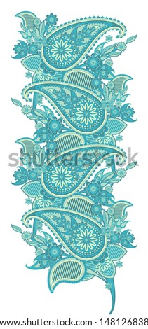 pattern border based on traditional Asian elements Paisley - stock photo