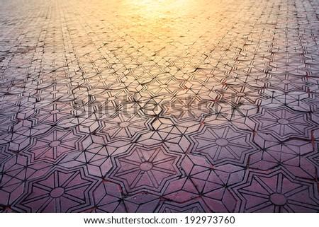 Pattern brick floor walkway - stock photo