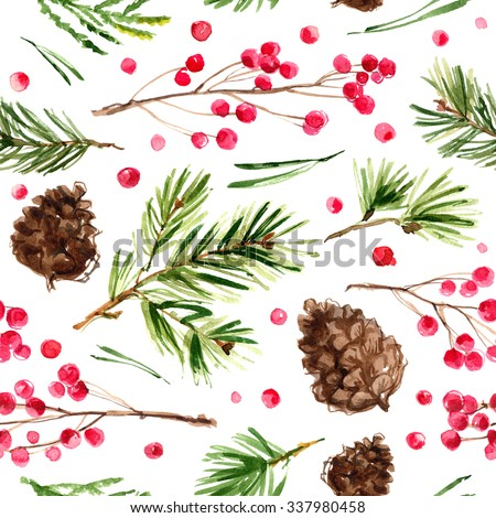 Pattern Christmas ornaments from the branches painted with watercolors on white background. Branches of trees. Holly sprigs with red berries. - stock photo