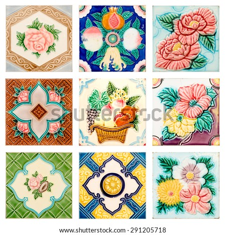 pattern colorful of modern style design decorative surface tile in the wood frame on wall - stock photo