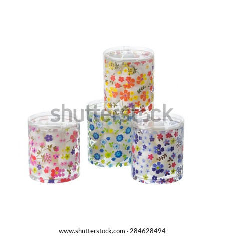 Pattern cylinder boxes isolated on white background