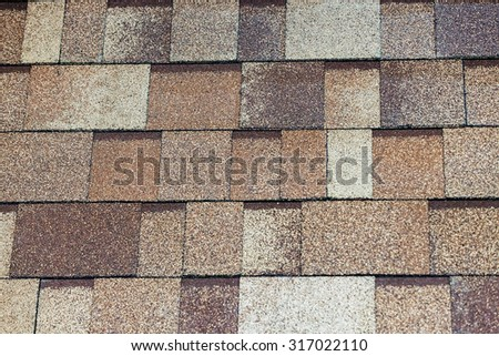 pattern detail of modern roof tiles at construction exhibition - stock photo