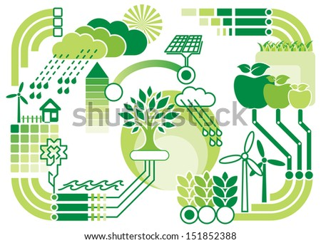 pattern diagram of environment and ecology - stock photo
