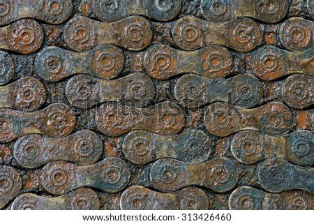 Pattern dirty bicycle chain. - stock photo