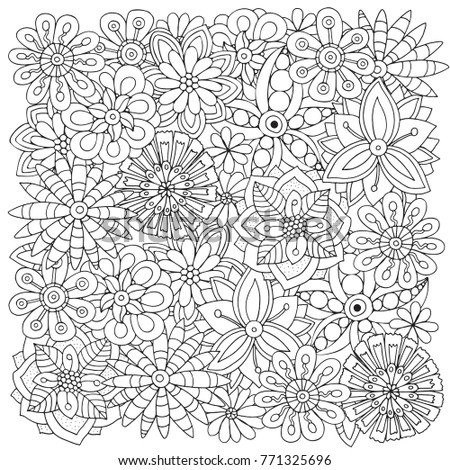 Pattern For Adult Coloring Book Flowers Ethnic Floral Retro Doodle