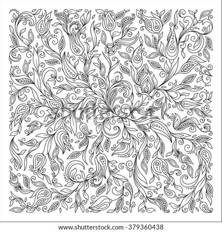 Pattern for coloring book. Ethnic, floral, retro, doodle,  tribal design element. Black and white background.  Henna paisley mehndi doodles design tribal design element