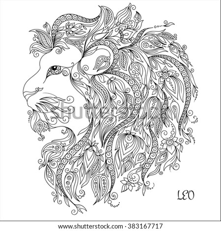 pattern for coloring book hand drawn line flowers art of zodiac leo horoscope symbol