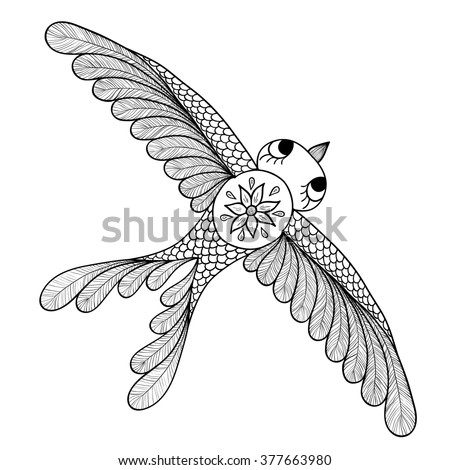 Pattern for coloring book. Henna Mehendi Tattoo Style Doodles bird.  Hand Drawn   illustration isolated on white background.Coloring book pages for kids and adults. - stock photo