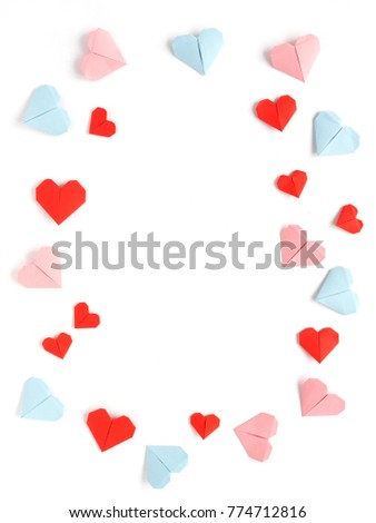 Pattern Frame Paper Origami Hearts Isolated Stock Photo (Royalty ...