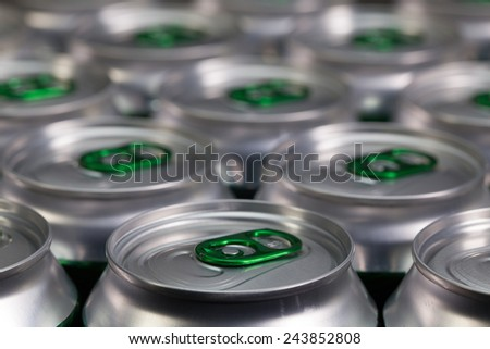 Pattern from much of drinking cans of beer - stock photo