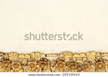 pattern gold flower of stucco design of native thai style on the wall - stock photo