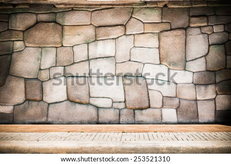pattern gray color of modern style design real stone wall surface with cement - stock photo