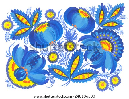 Pattern hand drawn floral painting. Illustration in  Ukrainian traditional folk painting Petrykivka art (Petryakovka painting)
