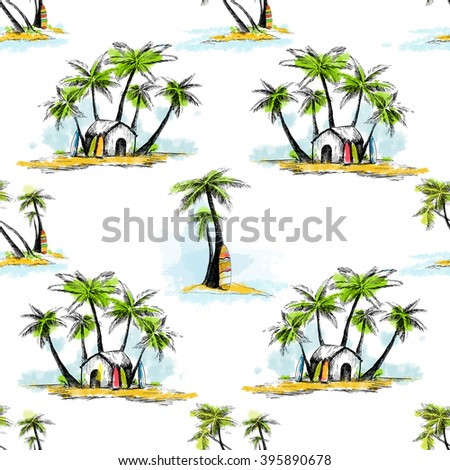 pattern hawaii, palm trees, surfing, seamless pattern summer beach