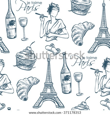 Pattern je taime paris with Eiffel Tower, perfume, Mademoiselle, cake, wine, croissant