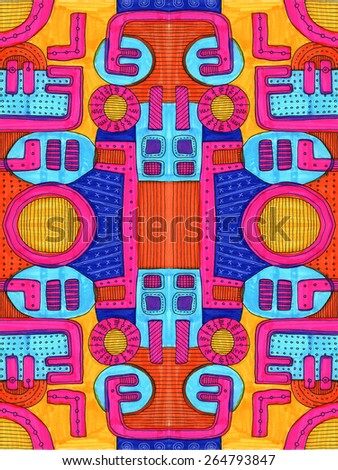 Pattern kid drawing like abstract shapes geometrical black lines colorful happy decorative LARGE G