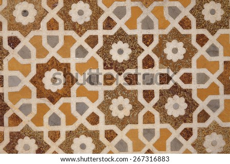 Pattern of a stone mosaic in a mosque. Full frame