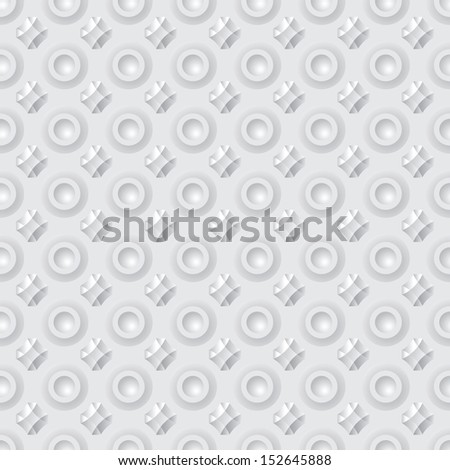 Pattern of abstract geometric buttons - seamless gray background - stock photo