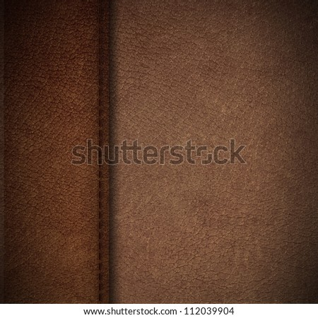 Pattern of artificial leather surface with thread seam - stock photo