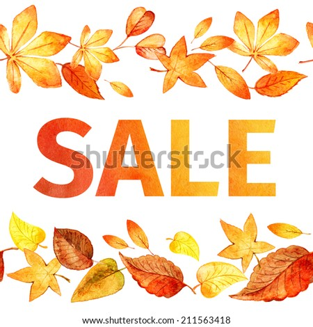pattern of autumn leaves. Autumn sale watercolor. - stock photo