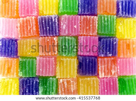 pattern of colorful jelly candies, sweet food texture background - stock photo