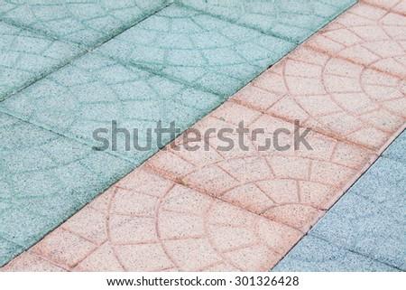 pattern of concrete block pavement walkway - stock photo