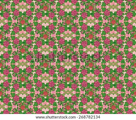 pattern of decorative roses in victorian fashion - stock photo