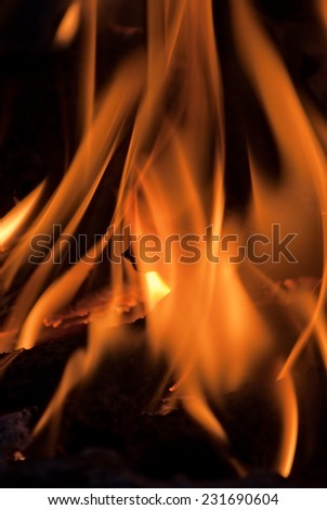 pattern of fire on black - stock photo