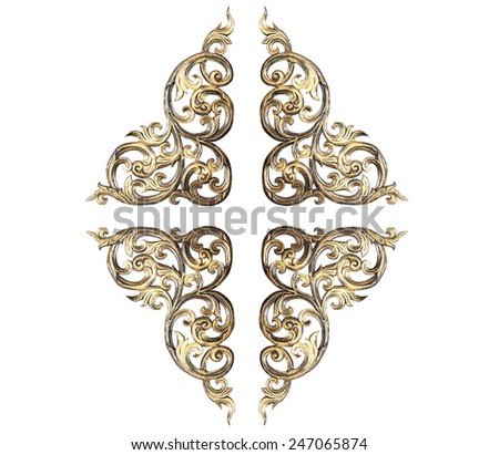 Pattern of flower carved frame on white background - stock photo
