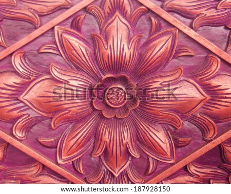 Pattern of flower carved on wood background. hand made in asia - stock photo