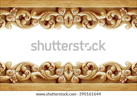Pattern of flower carved on wood for decoration isolated on white background - stock photo