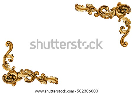 Pattern of gold metal frame isolated on white background