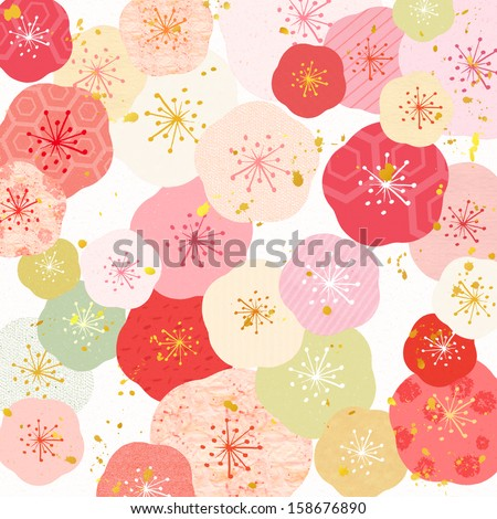 Pattern of Japanese plum blossoms cute colorful  - stock photo