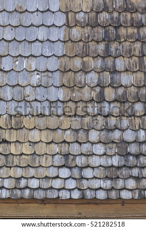 Pattern of old wooden roof tile background ,texture
