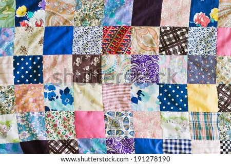 Pattern of part of a patchwork sheet - stock photo