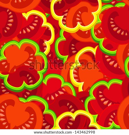 pattern of pieces of tomato and paprika. - stock photo