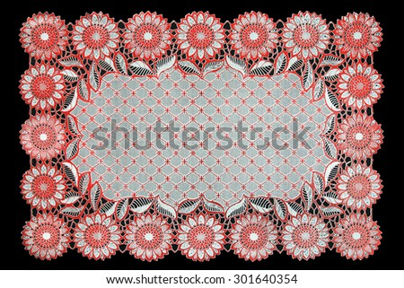 Pattern of Plastic red floral for tablecloth isolated on black background - stock photo