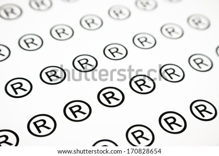 pattern of registered sign, black and white background - stock photo