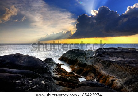 Pattern Of Rock During Sunset/Sunrise at Tip of Borneo,Sabah,Malaysia - stock photo