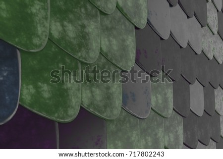 Pattern of rounded roof tiles in different colors. Abstract shingles background. 3D rendering illustration & Rounded Roof Stock Images Royalty-Free Images u0026 Vectors ... memphite.com