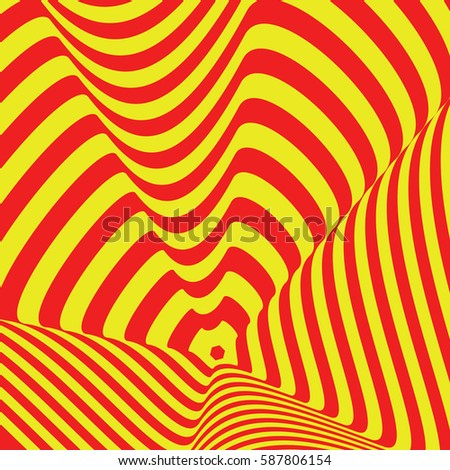 pattern of simple shape, geometric lines. Optical illusion. raster copy illustration. As background, pictures, wallpapers