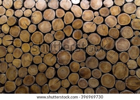 Pattern of Stacked wood timber for construction buildings Background