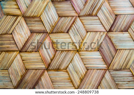 Pattern of Thai style bamboo handcraft texture background - stock photo