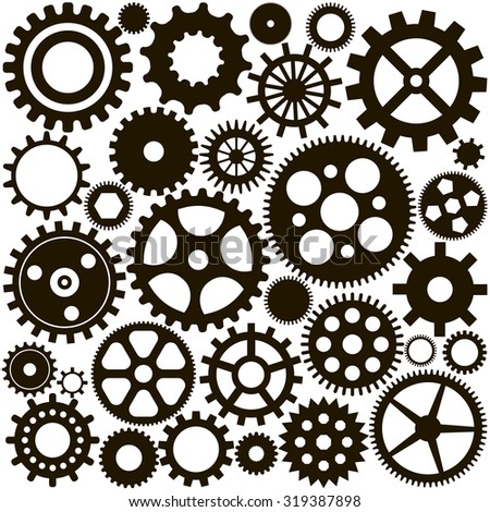 pattern of the ink set of gears on a white background
