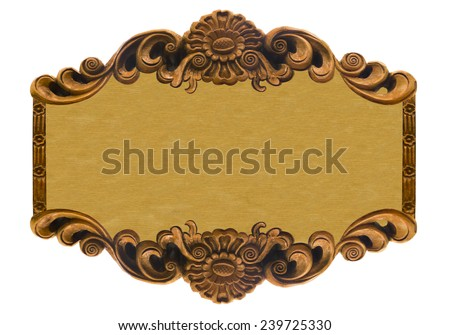 Pattern of wood carve flower frame on wood background. - stock photo