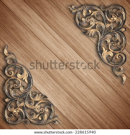 Pattern of wood carve flower on wood background - stock photo