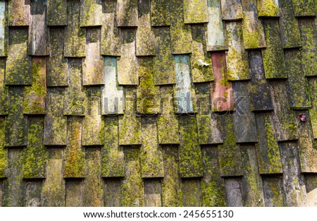 Pattern of wooden roof and moss of old house - stock photo
