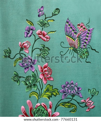 pattern on the thai cloth - stock photo