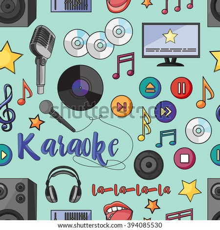 pattern on the theme of karaoke. Hand drawn pattern with symbols of music on black color. Background for use in design, web site, packing, textile, fabric